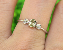 Natural Green Sapphire Size 7 US, 925 Sterling Silver Ring (SSR0592)