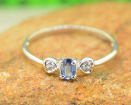 Natural Blue Sapphire Size  8US, 925 Sterling Silver Ring (SSR0591)