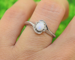 Natural Opal Size  6 US, 925 Sterling Silver Ring (SSR0590)