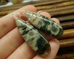 Natural teardrop ocean jasper pair gemstone earring (G1529)