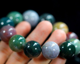 504.3Ct Natural Gorgeous Indian Agate Healing Crystal Stretch Mala Bracelet