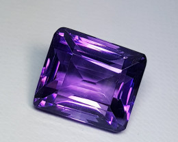 13.50 ct Top Quality Excellent Octagon Cut Natural Purple Amethyst
