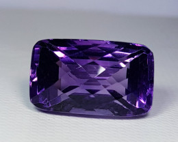 16.88 ct Top Quality Rectangular Checker Cut Natural Purple Amethyst