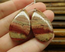Pair teardrop red jasper gemstone jewelry (G1538)