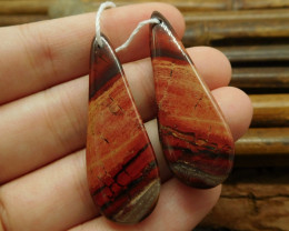 Handmade gemstone earring red jasper bead (G1539)
