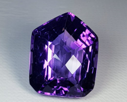 18.24 ct Top Quality Stunning  Fancy Checker Cut Natural Amethyst