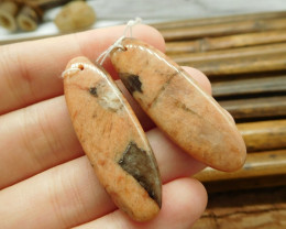 Orange jasper gemstone pair jewelry earring (G1551)