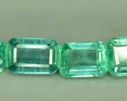 4.05 Carats Lot of 6 Clean pcs Of  Colombian Emerald Cut- Natural Emerald