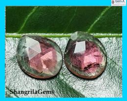 2.85ct 10.1mm Pair Watermelon Tourmaline pink green rose cut gems 10.1 by 8