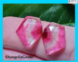 8.59ct 15mm Pair Watermelon Tourmaline pink white rose cut gems 15 by 11.5