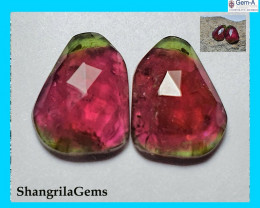 4.92ct 11.5mm Pair Watermelon Tourmaline pink green rose cut gems 11.5by 8.