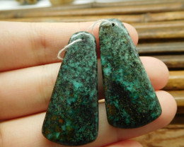 Green african turquoise gemstone earring natural bead (G1567)