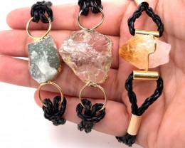 3 x Raw Rock & Funny Gemstones Bracelets - BR 1283