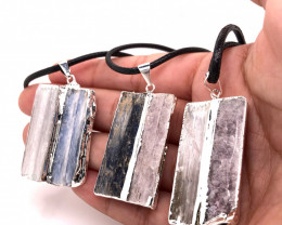 3 x Blue Kyanite and Mica Pendant - BR 1286