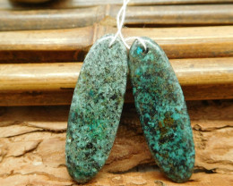Natural african turquoise pair earring bead (G1568)