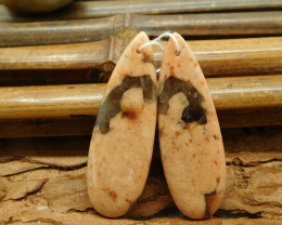 Orange jasper gemstone earring bead (G1574)