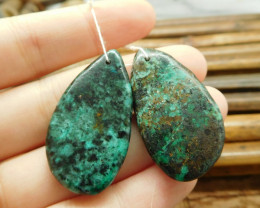 African turquoise pairs bead (G1583)