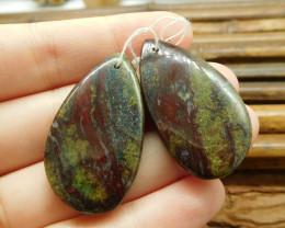 Dragon bloodstone earring beads (G1584)