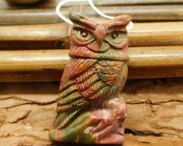 Red creek jasper carved owl pendant bead (G1591)