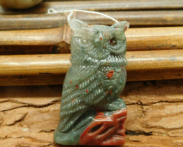African bloodstone craft owl bead (G1592)