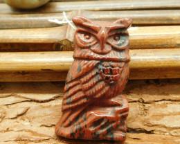 Mahogony obsidian carved owl pendant animal craft (G1594)