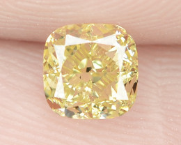 0.54 Cts Untreated Natural Fancy Intense Yellow Color Loose Diamond- VS2