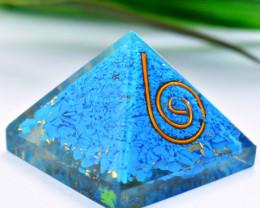 Genuine 65.00 Cts Blue Onyx Orgone Healing Pyramid