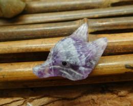 Natural fluorite fox carving gemstone pendant jewelry making (G1624)