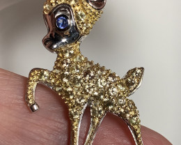 Oh So Beautiful Sapphire Deer Pendant - Sparkling  gems - Brand new No rese