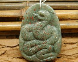 African bloodstone carving gemstone pendant bead (G1632)