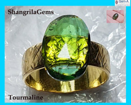 14.9mm 5ct Green tourmaline rose cut from Oro Mine Nigeria 14.9 by 10.1 by3