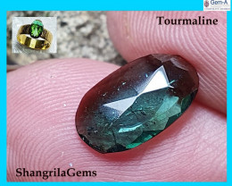 11.2mm 1.44ct blue Green teal tourmaline rose cut from Oro Mine Nigeria 11.