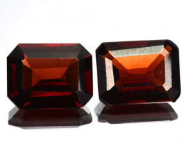 5.56 Cts Natural Deep Red Rhodolite Garnet 9x7mm Octagon 2Pcs Africa