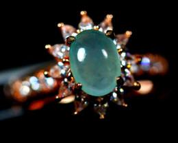 Natural Grade A Jadeite Jade Cabochon Silver Ring