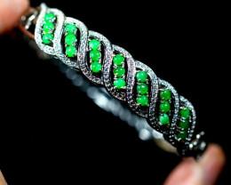 Natural Jadeite Jade 925 Silver Bracelet