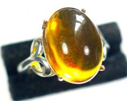 Natural Amber Cabochon 925 Silver Ring
