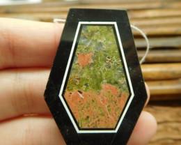 Unakite jasper and obsidian pendant bead (G1647)