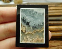 Natural gemstone jasper intarsia obsidian pendant (G1654)