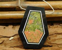 Natural unakite jasper obsidian pendant (G1657)