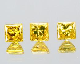 0.10 Cts Natural Diamond Golden Yellow 3Pcs Princess Cut Africa