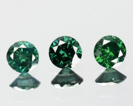 0.12 Cts Natural Diamond Rich Green 2mm Round 3Pcs Africa