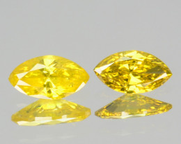 0.12 Cts Natural Diamond Golden Yellow 2Pcs Marquise Cut Africa