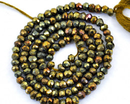 Genuine 30.00 Faceted Pyrite Beads Strand