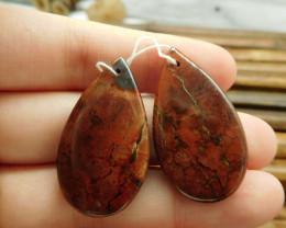 Handcarved gemstone serpentine gemstone bead (G1685)
