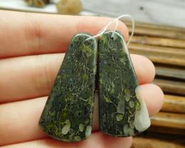 Camouflage jasper pair natural gemstone bead (G1687)