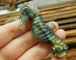 Gemstone carving labradorite sea horse gemstone bead (G1691)