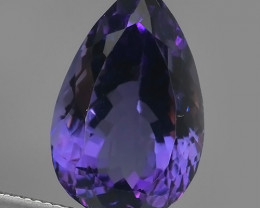 16.85Cts Natural Purple Amethyst Exquisit pear Cut Glister NR!!!