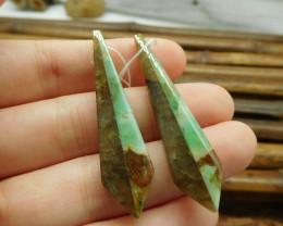 Labradorite and chrysocolla intarsia earring pairs (G1695)
