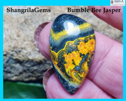 26mm BumbleBee Jasper AAA quality 13.5ct 26 by 18 by 4.5mm from Indonesia