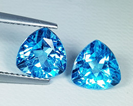 Parcel Pair of 4.06 ct Top Quality Gem Triangle Cut Swiss Blue Topaz